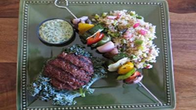 Bison Burgers and Veggie Kebabs